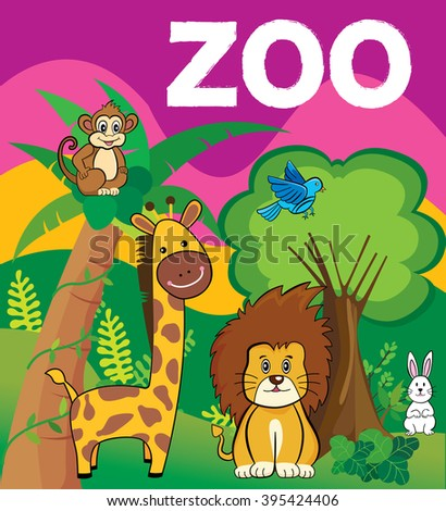 illustration of a zoo in a beautiful nature - stock vector