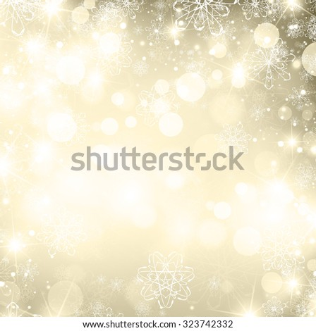 Illustration of Abstract Abstract Golden Christmas Winter Background, Copyspace - stock vector