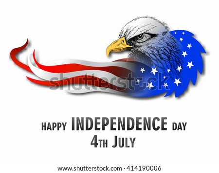 illustration of abstract American Flag with eagle for Independence Day - stock vector