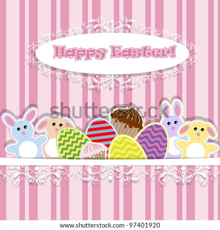 illustration of abstract background with Easter bunnies - stock vector
