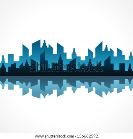 Illustration of abstract blue building design  - stock vector