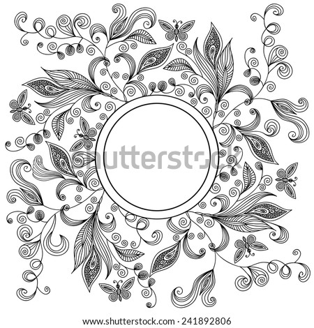 Illustration of abstract floral lacy background with round banner isolated  - stock vector
