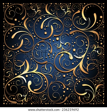 Illustration of Abstract Golden Dark Floral Background  - stock vector