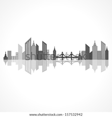 Illustration of abstract grey  building design with bridge - stock vector