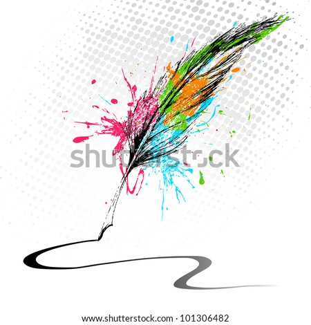 illustration of abstract grungy feather making line on white background - stock vector