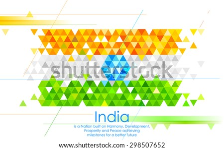 illustration of abstract India Background in tricolor triangle - stock vector