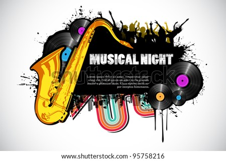 illustration of abstract musical background with cityscape - stock vector