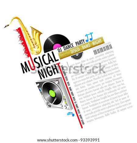 illustration of abstract musical background with instrument - stock vector