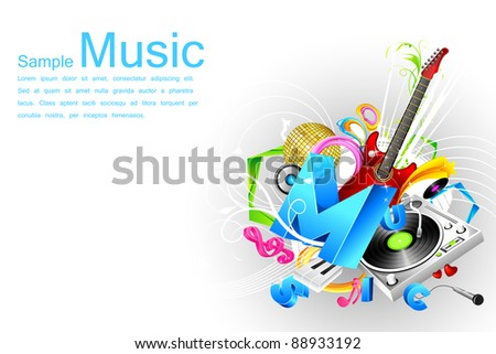 illustration of abstract musical background with speaker and guitar - stock vector