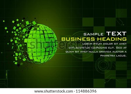 illustration of abstract technology background with earth in pieces - stock vector