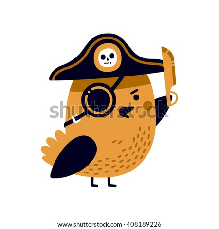 Illustration of adorable pirate bird with captain's hat, eye patch and sharp blade. - stock vector