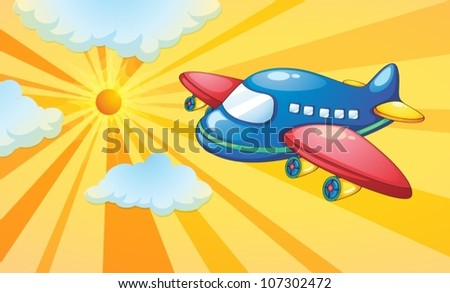 illustration of aeroplane and light rays in the sky - stock vector