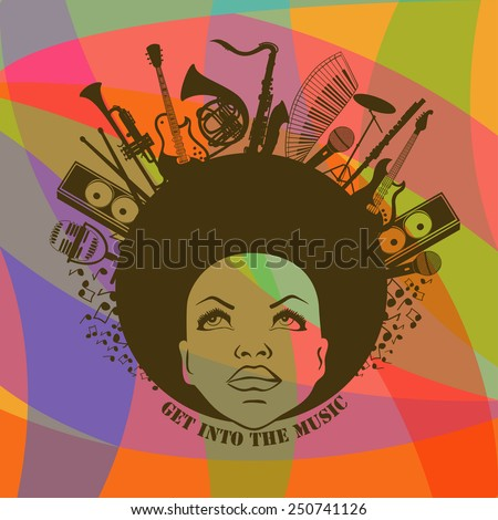 Illustration of African American young woman portrait with musical instruments on colorful geometric background. Music creative concept - stock vector
