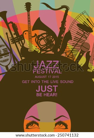 Illustration of African American young woman portrait with musical instruments on colorful geometric background. Music creative concept. Musical invitation - stock vector