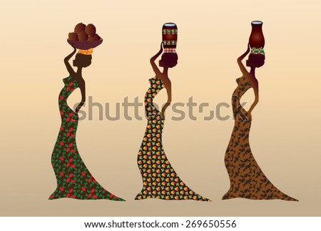 Illustration of African women, dressed in various traditional garments, carrying water and coconuts in traditional dishes on his head. - stock vector