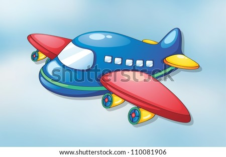 illustration of air plane flying in the sky - stock vector