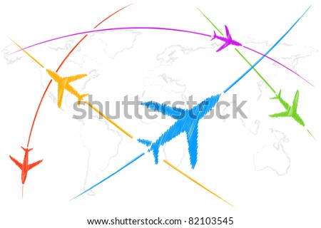 illustration of airplane flying on world map - stock vector