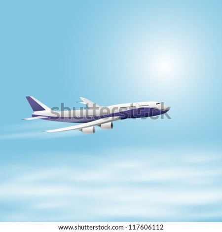 Illustration of airplane in the sky. EPS10 vector. - stock vector