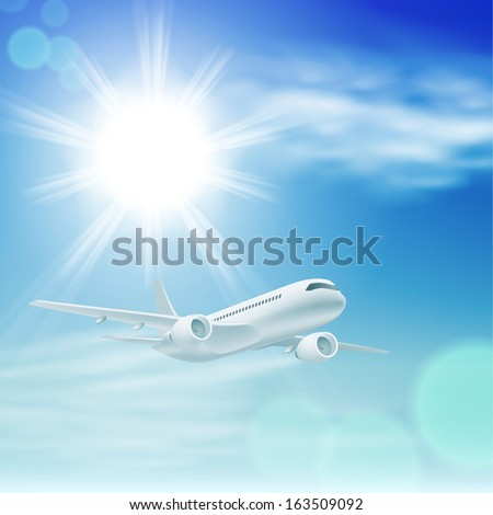 Illustration of airplane in the sky with sun. EPS10 vector. - stock vector
