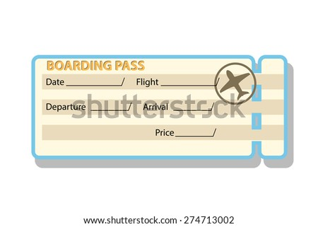 illustration of airplane ticket with shadow islated on white background - stock vector