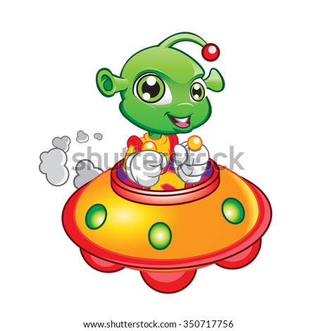Illustration of Alien Driving Spaceship - stock vector