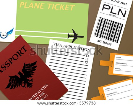 Illustration of all the documents you would need to fly from an airport - stock vector