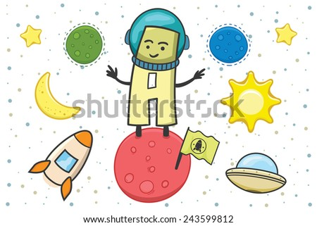 Illustration of alphabet occupation - letter A for Astronaut - stock vector