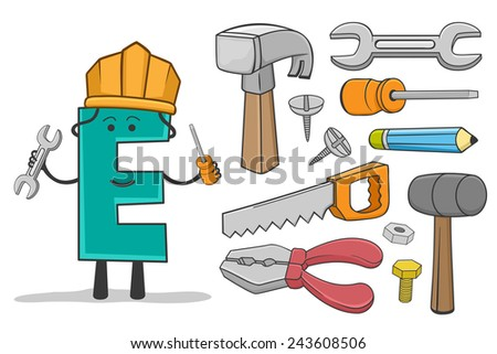 Illustration of alphabet occupation - Letter E for Engineer - stock vector