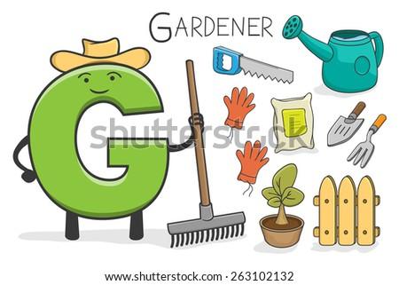 Illustration of alphabet occupation - Letter G for Gardener - stock vector