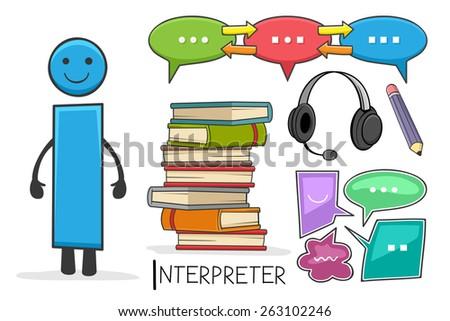 Illustration of alphabet occupation - Letter I for Interpreter - stock vector