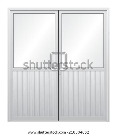 Illustration of aluminum door on white background. - stock vector