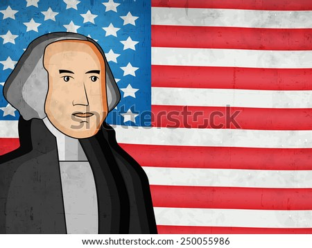 Illustration of American Flag  for Presidents Day