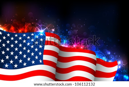 illustration of American Flag on abstract glowing background - stock vector