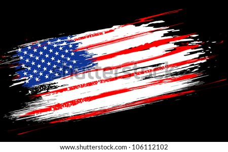illustration of American Flag with grungy border - stock vector