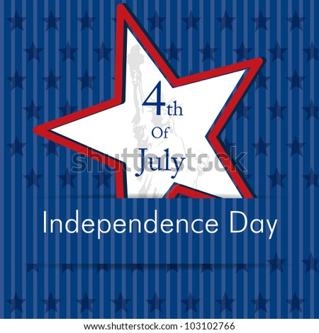 Illustration of American Independence Day of 4th July with star on blue color background.EPS 10. Can be use as banner, poster and flyer. - stock vector