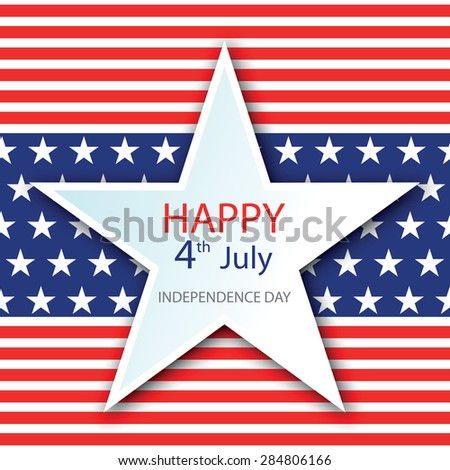 Illustration of American Independence Day of 4th July with star on flag color seamless background. Perfect for banner, poster and flyer - stock vector