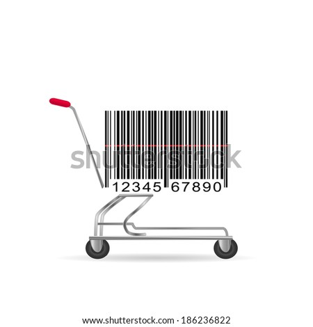 Illustration of an abstract barcode shopping cart isolated on a white background. - stock vector