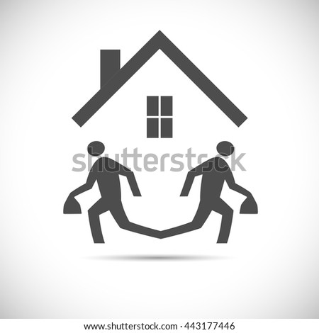 Illustration of an abstract design of two running figures escaping - stock vector