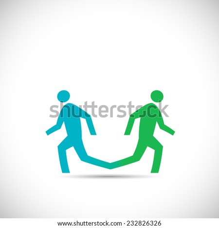 Illustration of an abstract design of two running figures isolated on a white background. - stock vector