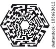 illustration of an abstract maze with the shape of an hexaeder - stock photo