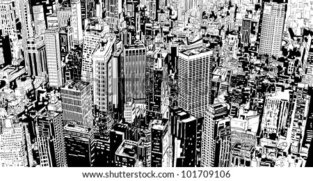 illustration of an aerial view of a fictional modern city with skyscrapers and street. - stock vector
