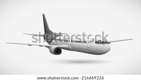 Illustration of an aeroplane on a white background - stock vector