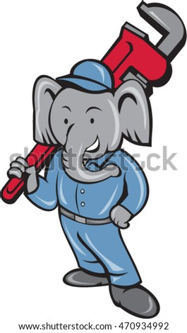 Illustration of an african elephant plumber mascot standing holding monkey wrench on shoulder set on isolated white background done in cartoon style.