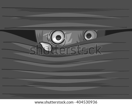 Illustration of an Agoraphobic Man Peeking from Behind His Venetian Blinds - stock vector
