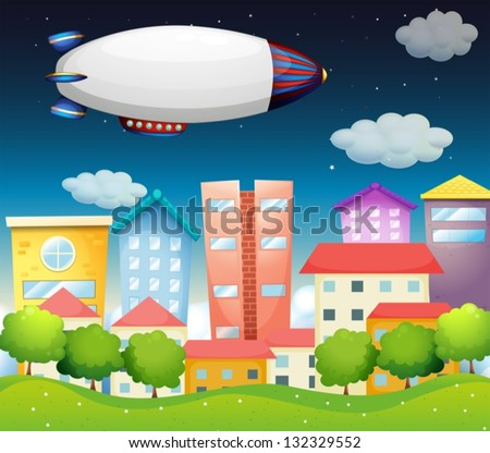 Illustration of an aircraft in the city - stock vector