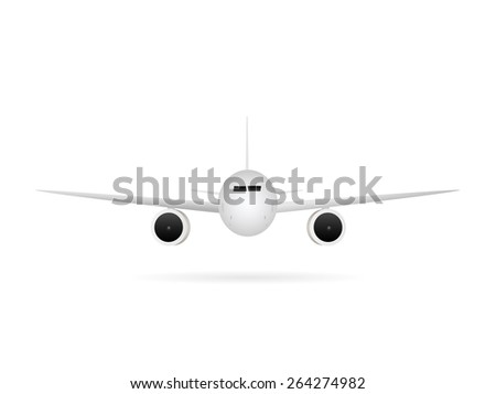 Illustration of an airplane isolated on a white background. - stock vector
