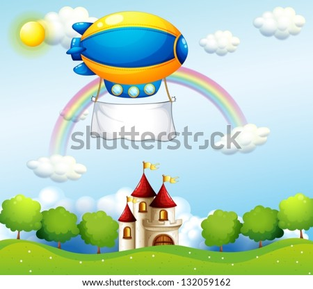 Illustration of an airship with an empty banner above a castle - stock vector