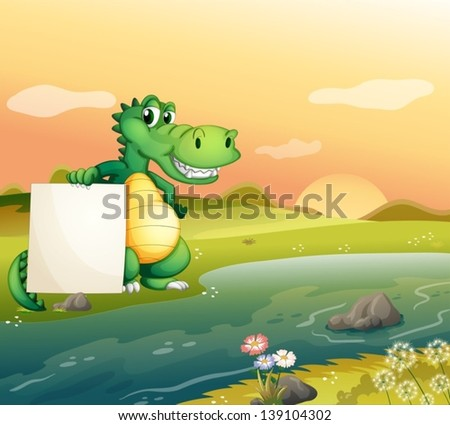 Illustration of an alligator with an empty board at the riverside