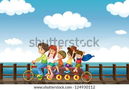 Illustration of an amazing bike that is intented for many people - stock vector