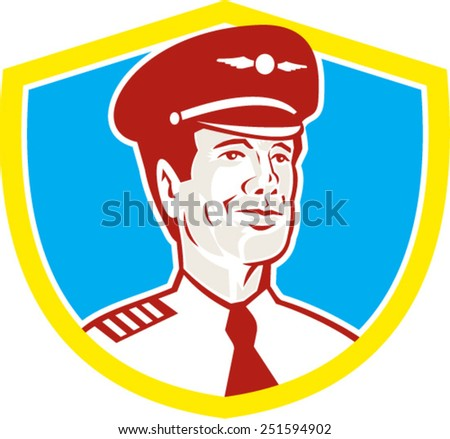 Illustration of an American airline aircraft pilot or aeronautical aviator looking to front set inside shield done in retro style. - stock vector